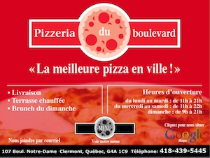 Pizzeria du Boulevard Enr - Charlevoix, Clermont