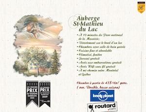 Auberge Saint-Mathieu du Lac - Mauricie, Saint-Mathieu-du-Parc