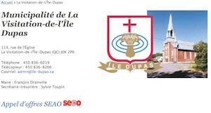 Municipalité de La Visitation-de-l'Île Dupas - Lanaudière, La Visitation-de-l'Île-Dupas
